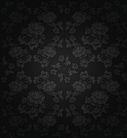Corduroy dark background, gray flowers texture fabric Vector