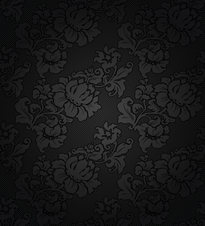 black satin: Corduroy dark background, ornamental gray flowers texture fabric Illustration