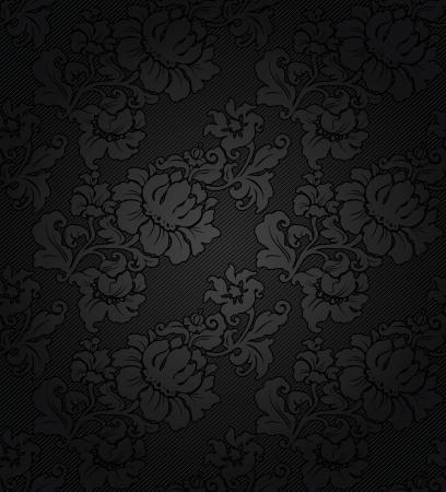 velvet texture: Corduroy sfondo scuro, grigio trama ornamentale fiori in tessuto Vettoriali