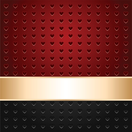 Background perforated in shape heart, template surface, gold ribbon Vector