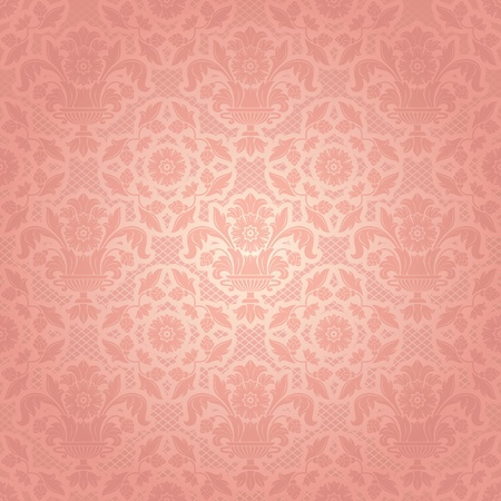 Lace background, ornamental pink flowers template Vector