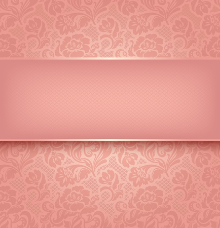 Lace background, pink ornamental fabric textural  Vector eps 10
