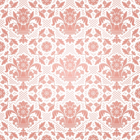 Lace background, pink ornamental flowers Vector