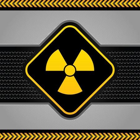 radioactive symbol: S�mbolo radiactivo plantilla, fondo industrial abstracta