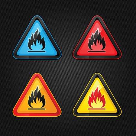 Hazard warning triangle highly flammable warning set symbols Vector