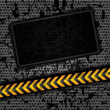 предупреждать: Металлический гранж фон шаблона, перфорированный лист железа Векторный EPS 10