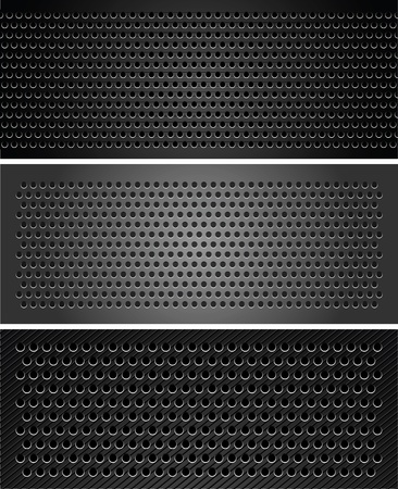 Set metallic perforated sheet Vector