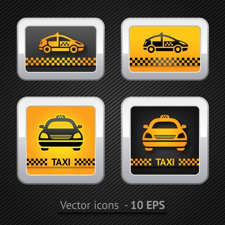 Taxi cab set buttons on background pixel Stock Vector - 12802589