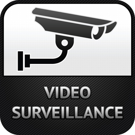 monitored area: CCTV symbol, video surveillance, sign security camera