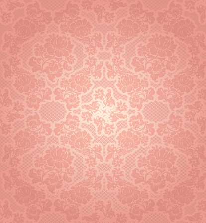 pink satin: Lace background, ornamental pink flowers template