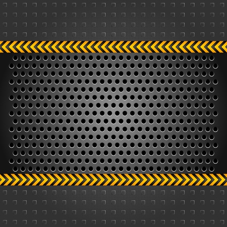 hazard tape: Metallic background template, perforated iron sheet Illustration