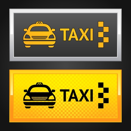 Taxi cab set label Vector