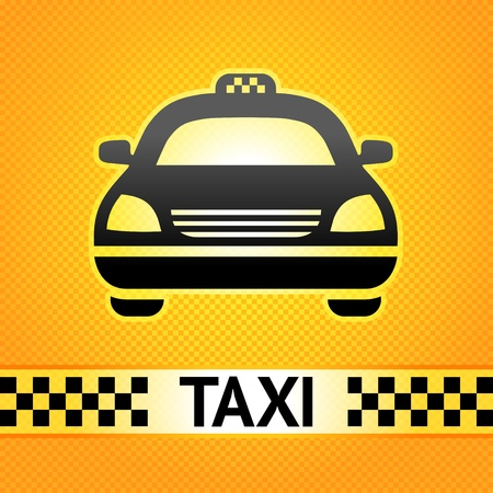 fare: Taxi cab symbol on background pixel pattern