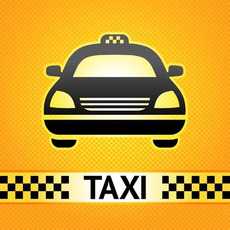 Taxi símbolo de la cabina en el patrón de fondo de píxeles
