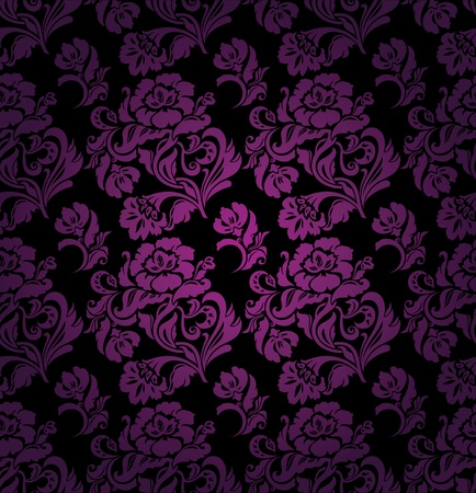 velvet fabric: Seamless pattern, ornament lilac floral background Illustration