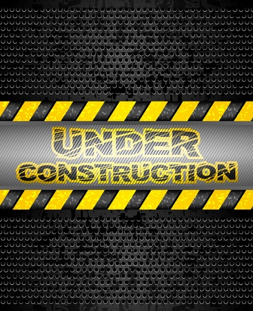 Under construction, black metallic background Vector
