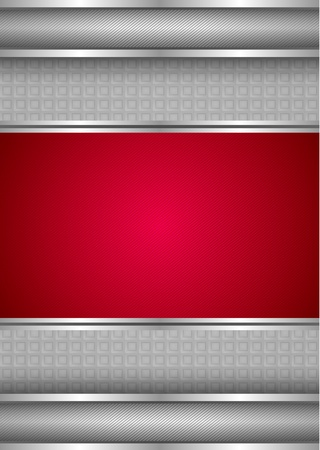 Background template, metallic texture, red blank Vector