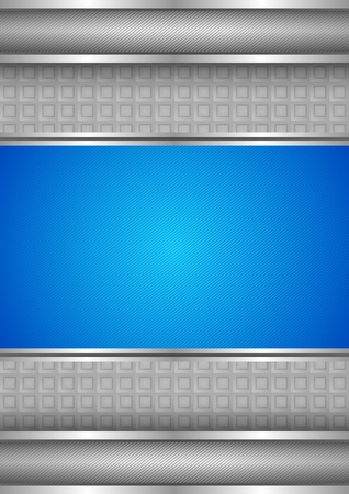 Background template, metallic texture, blue blank Vector