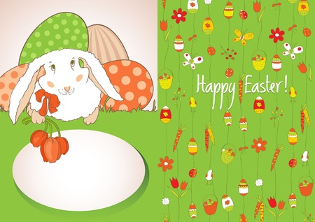 Green card with Easter eggs Vector