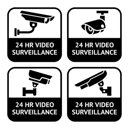 private security: CCTV labels, set symbol security camera pictogram
