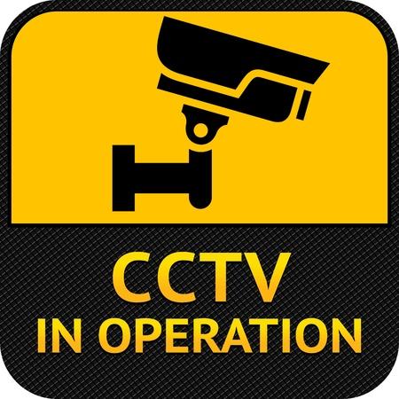 cctv: S�mbolo de circuito cerrado de televisi�n, c�mara de etiqueta de seguridad