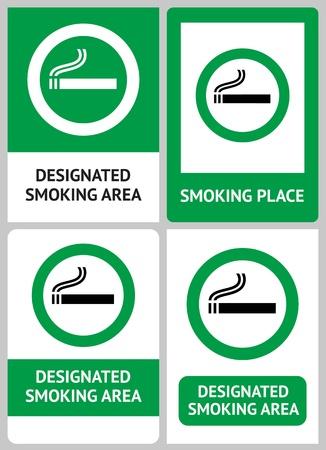 smoking place: Label set Smoking place Illustration