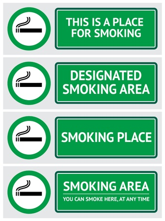 tobacco: Labels set smoking place stickers