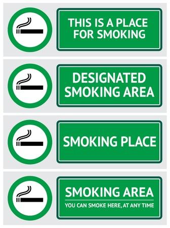smoking place: Labels set smoking place stickers