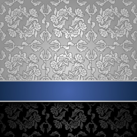 trendy tissue: seamless decorative background silver with a blue ribbon