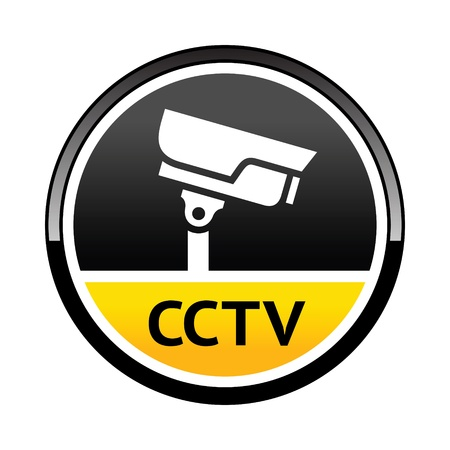 cctv security: Surveillance camera, warning round symbol
