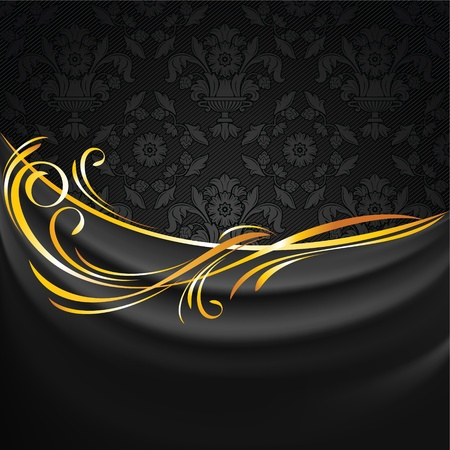 Dark fabric drapes on black ornamental background Vector