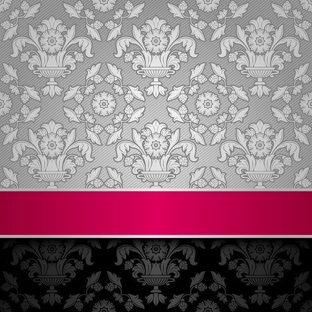feminine background: seamless decorative background silver with a pink ribbon Illustration