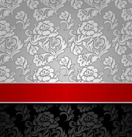 bodas de plata: plata sin fisuras fondo decorativo con una cinta roja Vectores