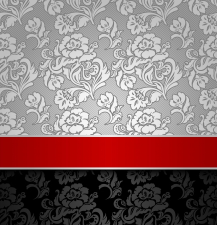 seamless decorative background silver with a red ribbon Stock Vector - 13091195