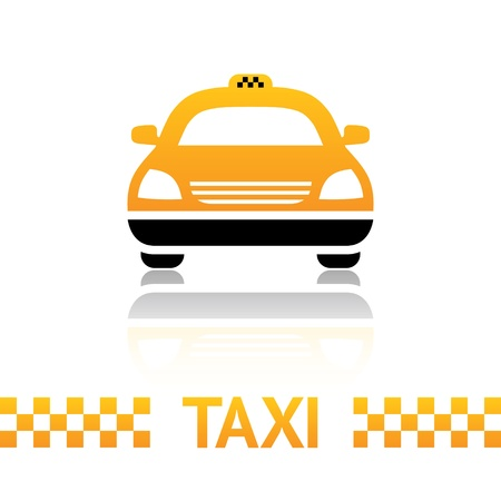 fare: Taxi cab symbol on white background