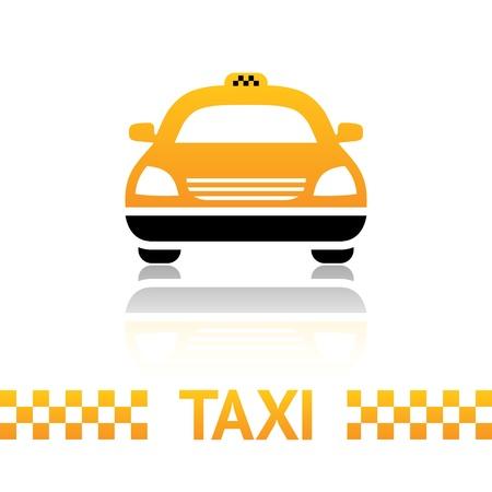 taxi: Taxi s�mbolo de la cabina en el fondo blanco Vectores