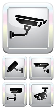CCTV labels, video surveillance, set button Vector