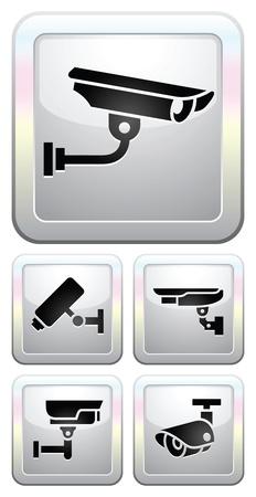 camera icon set: CCTV labels, video surveillance, set button