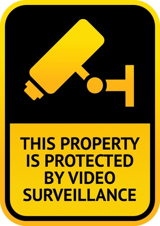 surveillance symbol: Video surveillance sticker Illustration