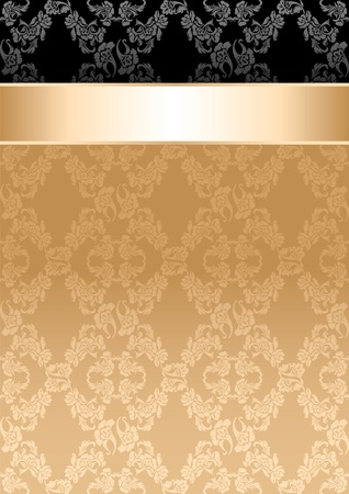 Background, gold ribbon, seamless floral pattern Vector
