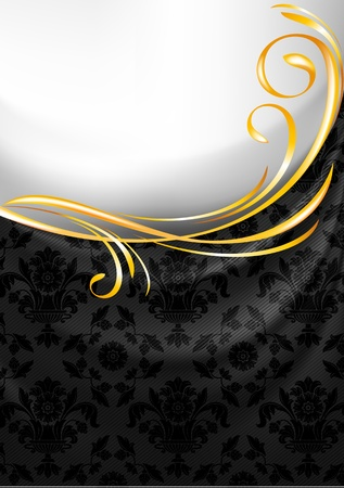 Black fabric curtain, gold vignette Stock Vector - 13290883