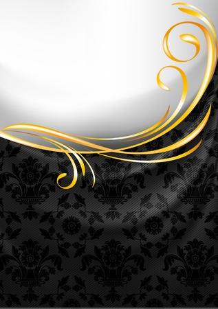 structure corduroy: Black fabric curtain, gold vignette Illustration
