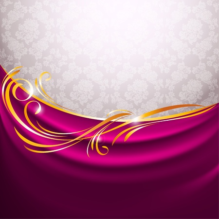 Pink fabric curtain, gold vignette Vector
