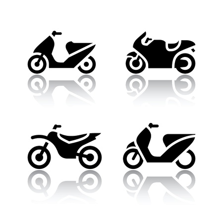 motorbikes: Set of transport icons - motorcycles