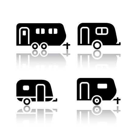 coupling: Set of transport icons - trailers Illustration