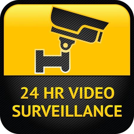 Video surveillance sign, cctv label Illusztráció