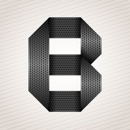 Letter metal ribbon - B Stock Vector - 13290941