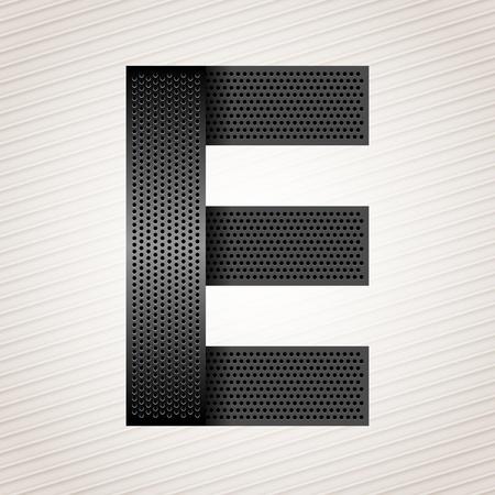 perforation tape: Letter metal ribbon - E Illustration