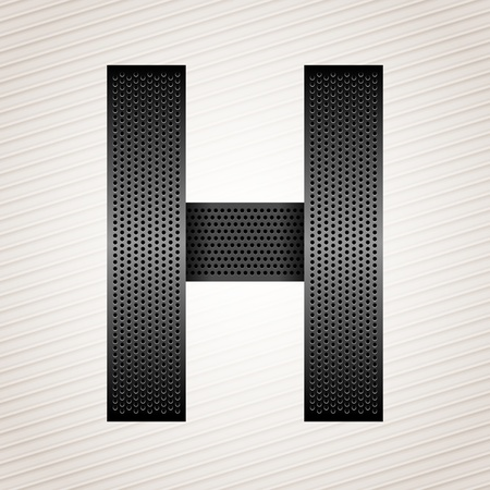 Letter metal ribbon - H Vector