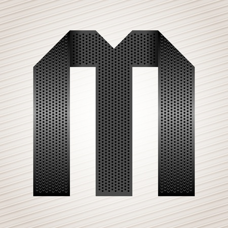 decorative letter: Letter metal ribbon - M Illustration